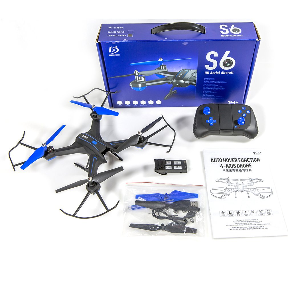 S6W Smart Selfie RC Quadcopter Drone Aircraft with Wifi FPV 720P Wide Angle HD Real-time Camera Altitude Hold Headless ModeS6W Smart Selfie RC Quadcopter Drone Aircraft with Wifi FPV 720P Wide Angle HD Real-time Camera Altitude Hold Headless Mode