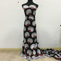 High Quality African Swiss Voile Lace 056 Black + Red, Free Shipping 5 yards/pack, 100%cotton African Lace Trim Dress
