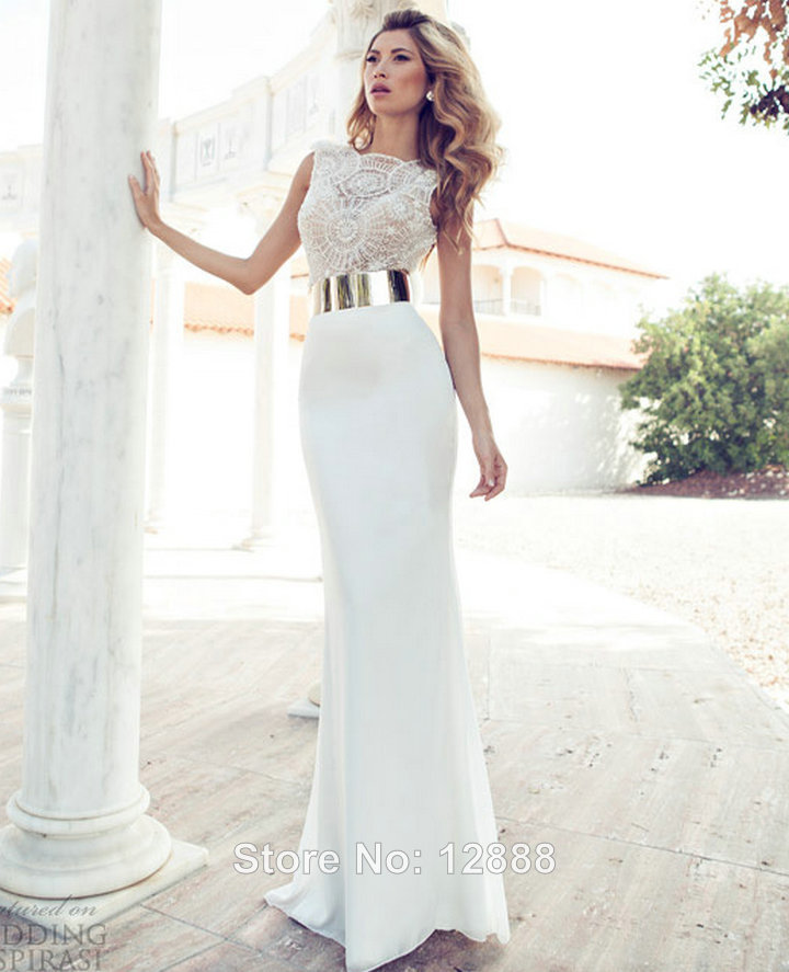Floor Length Chiffon High Neck White Prom Dress With Pearls Gold ...