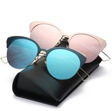 Hot Sale Brand Women Sunglasses cat eye Semi Rimless Frame Sun Glasses TR90 and Aluminium High Quality Glasses Gafas