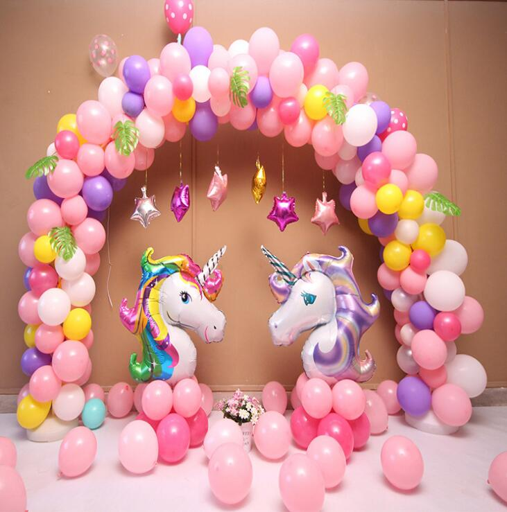 Unicorn Theme Balloons 18 Inch Star Round Balloon Birthday Party Decor Kids Rainbow Latex Supplies