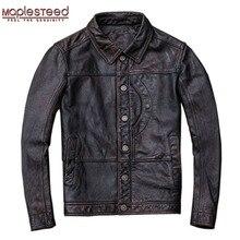MAPLESTEED Vintage Rot Braun Leder Jacke Männer 100% Kuh Haut Natürliche Leder Jacken Echt Rindsleder Herren Leder Mantel Herbst M162