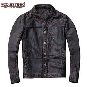 Image 1 - MAPLESTEED Vintage Rot Braun Leder Jacke Männer 100% Kuh Haut Natürliche Leder Jacken Echt Rindsleder Herren Leder Mantel Herbst M162