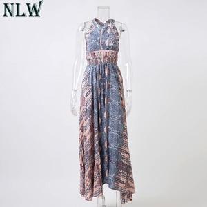 Image 5 - NLW Boho mavi çiçek Maxi elbise Halter yaz elbisesi 2019 kadınlar yüksek bölünmüş Backless seksi uzun elbise plaj partisi Chic kız Vestido
