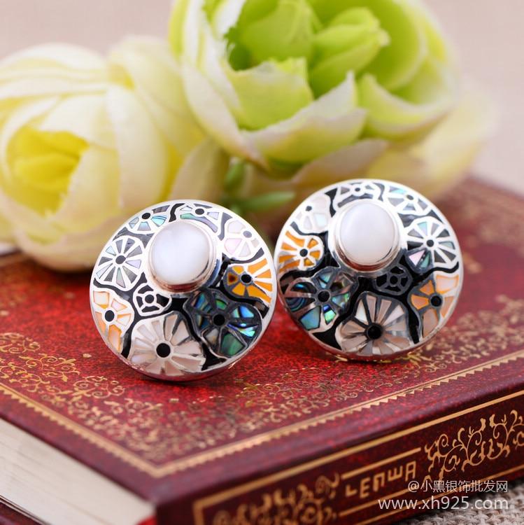 Bijoux en argent noir gros 925 bijoux en argent sterling boucles d'oreilles cloisonné Moonstone oreille clip xh050546 MS