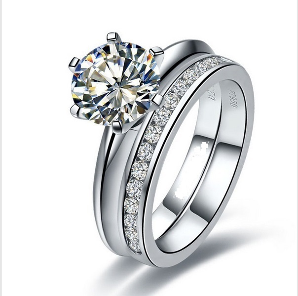 Well Man Made Set Rings 1ct Moissanite Wedding Solid 925 Sterling Silver Engagement Ring