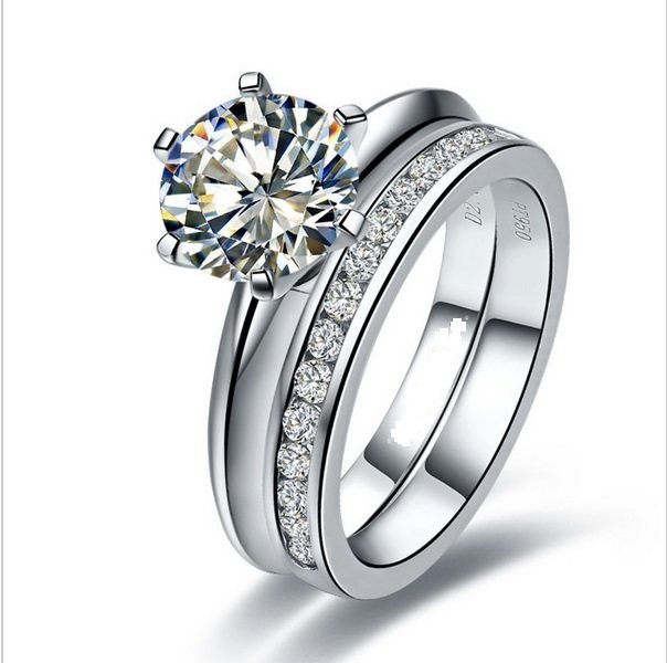 Well Man Made Set Rings 1ct Moissanite Wedding Solid 925 Sterling Silver Engagement Ring White Gold Color Jewelry