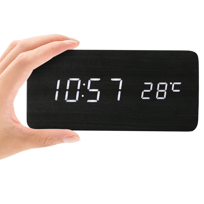 LED Horloge En Bois Bureau Électronique Alarme Horloges Minuterie Le Calendrier Station Météo Numérique Horloge Relogio De Mesa Réveil Lumière