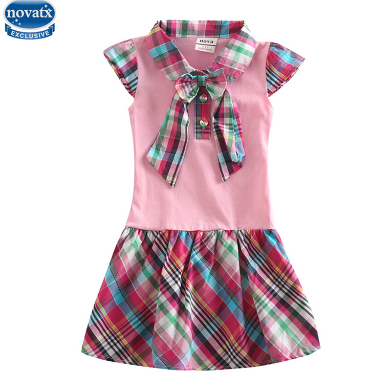 novatx H5023 girls clothes reatil new summer baby girl causal bow dress  children girl clothing dresses for girl dress hot top novatx brand children clothes sleeveless cotton clothing girls party dress baby girl princess dresses 2017 new arrival