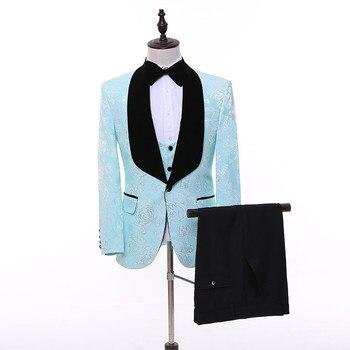 Men's West Slim Fit Sky Blue Pattern Suit Three-Piece Set (Jacket + Pants + Vest) Business Casual Suit Wedding Banquet Dress