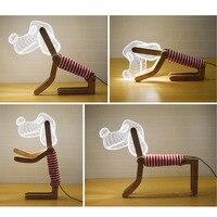 3D New Món Quà Đặc Biệt Chó Shap Đèn LED Nightlight Valentine Couple Bầu Không Khí Trang Trí Xung Quanh Các Đèn Cạnh Giường Ngủ MỸ Cắm/EU cắm