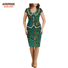 2018 summer women 2 pieces skirt set AFRIPRIDE peter pan collar single breasted top+knee length pencil A1826019