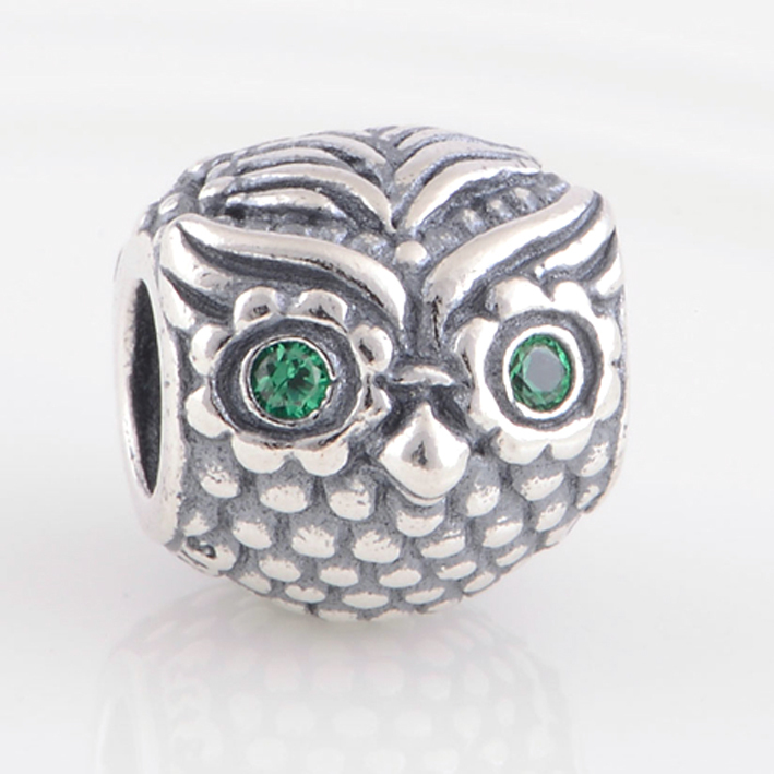 f64a279ca Wise Owl Charm Fits Pandora Charms Bracelet&Necklaces 925 Sterling Silver  Beads With Dark Green CZ Eyes DIY Jewelry Wholesale-in Beads from Jewelry  ...