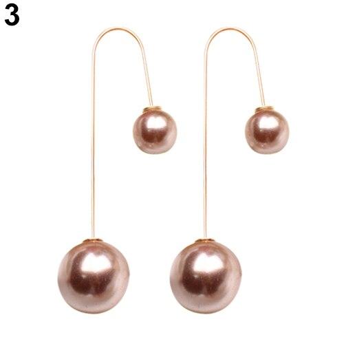 dba6f5687319e US $0.61 |2016 Women U Shaped Double Sided Faux Pearl Ball Drop Dangle  Earrings Party Jewelry 6Y1M 7ECL 8A8K-in Drop Earrings from Jewelry & ...