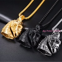 316L Stainless Steel Necklace Jewelry Western Country Men Cowboy Horse Head Pendant Necklace Mens Creative Punk