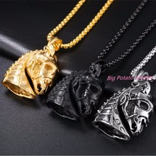26b7a17cd166 316L Stainless Steel Necklace Jewelry Western Country Men Cowboy Horse Head Pendant  Necklace Mens Creative Punk