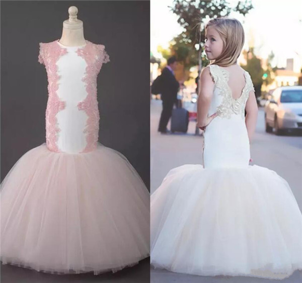 Здесь продается  2017 New Mermaid Flower Girl Dresses Crew Lace Tulle Child for Wedding Vintage Little Girls Pageant Party Dresses size 2-16  Детские товары