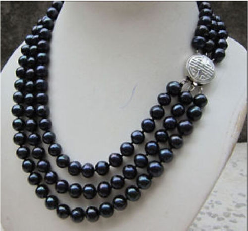 HOT 003527 HOT 3 ROW 9-10MM TAHITIAN GENUINE BLACK PEARL NECKLACE hot sale new style genuine 9 10mm tahitian black pearl necklace 18inch