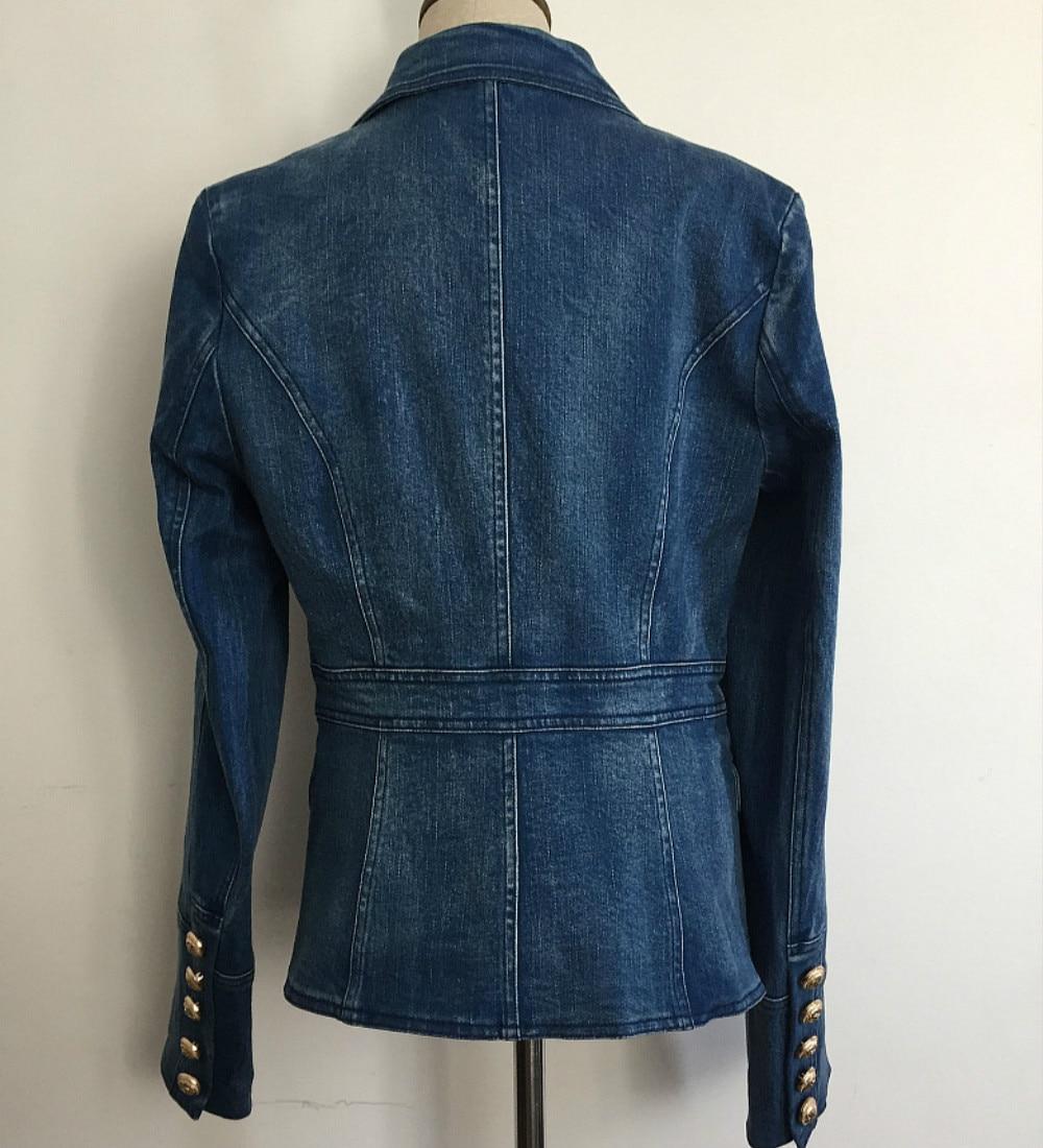 Double 2018 Vintage Bleu Qualité Entaillé Boutons Blazers Femmes Nouveau Streetwear Automne Designer Femelle Denim Vêtements Haute Manteaux Coton wcxTTXv70q