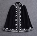 New arrival 2016 autumn winter fashion women cloak poncho coat vintage floral embroidery coats outerwear front zipper black