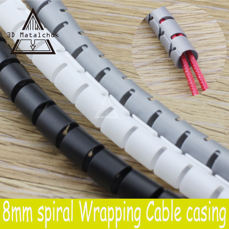 3D printer parts Black spiral Wrapping RepRap Flame retardant 8MM diameter Cable casing Cable Sleeves Winding pipe wrapping band 2m 50mm spiral wire organizer wrap tube flame retardant colorful spiral bands diameter cable casing cable sleeves winding pipe