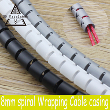 3D printer parts Black spiral Wrapping RepRap Flame retardant 8MM diameter Cable casing Cable Sleeves Winding pipe wrapping band