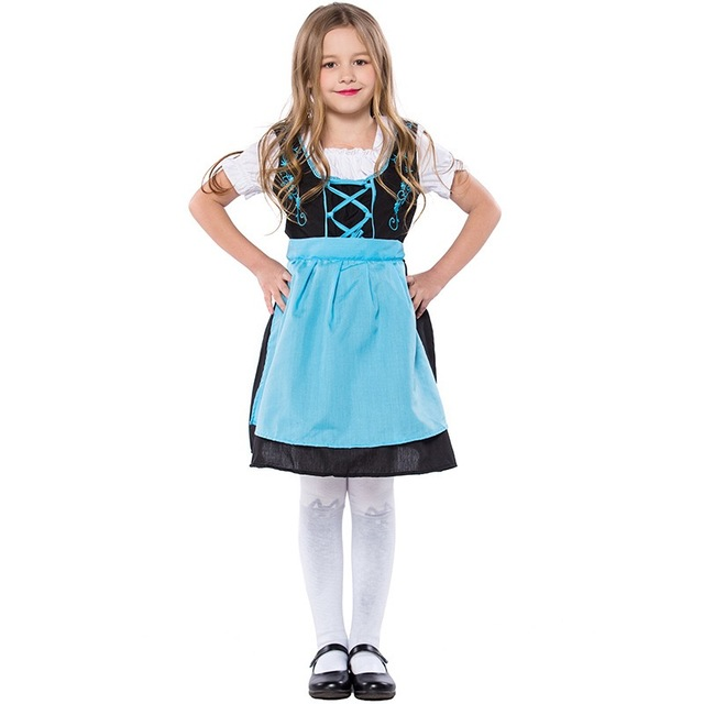 58ecd5235 Kid Girls Gretel Oktoberfest Costume Dress Child German Bavarian Carnival  Clothing Blue Apron Outfit Party Dress