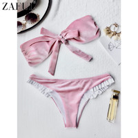 ZAFUL 2017 Bikini Set Knot Front Velvet Bandeau Swimsuit Cute Girls Bathing Suit Bikinis Women Swimwear