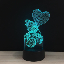 Valentine's Day colorful 3D Light  love heart touch lights LED 7 colors Valentine gift present Night lamp remote lighting 2.14 3d visual bulb optical illusion colorful led lamp touch romantic holiday night light love heart wedding valentine day gift