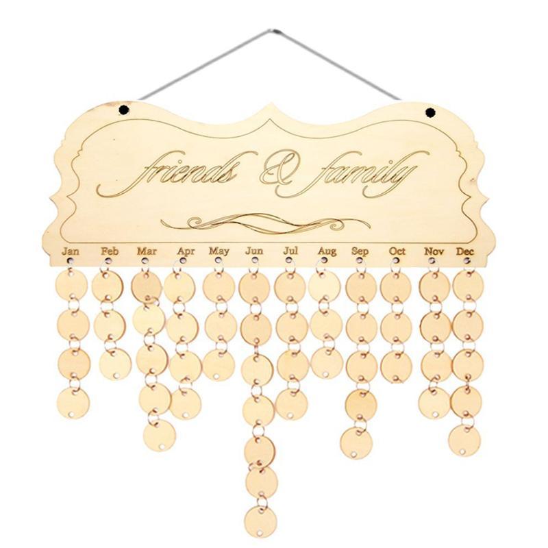 DIY Wooden Calendar Family Friend Birthday Reminder Sign Special Date Planner Board Material Escolar Korean Hanging Decor Plaque