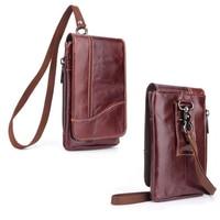 Shoulder Hook Loop Belt Clip Genuine Leather Mobile Phone Case For Huawei P Smart Honor 9