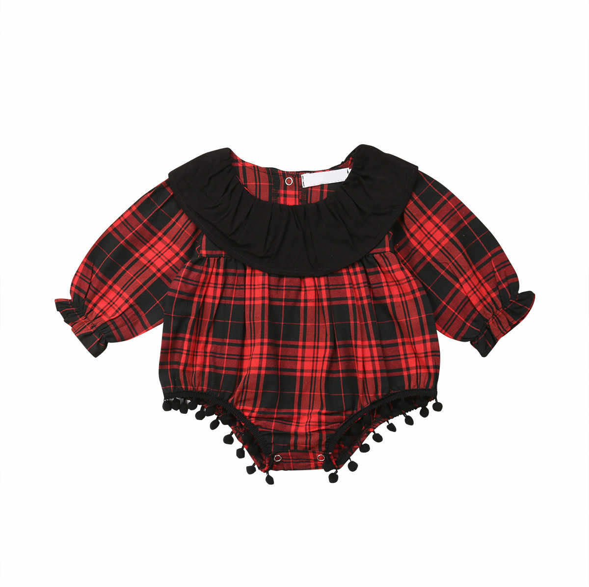 Новогодний для новорожденных для маленьких девочек s Красный Клетчатый комбинезон с длинным рукавом хлопок кисточкой мяч Осенняя Одежда для маленьких девочек наряды