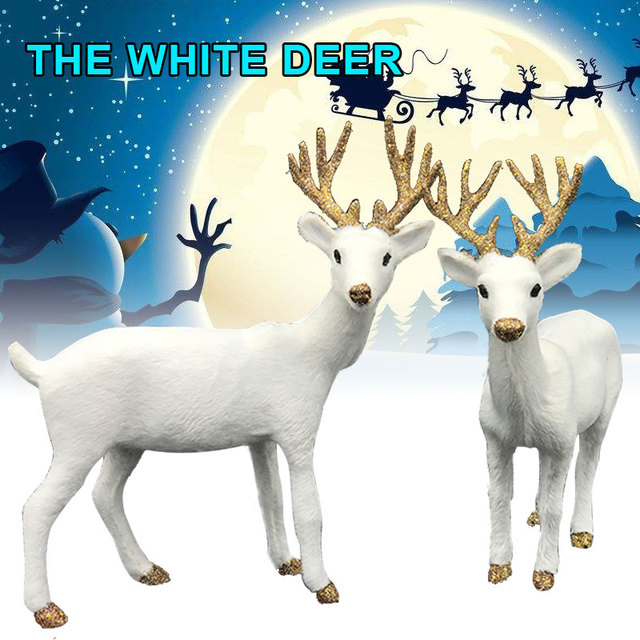 xmas elk simulation christmas white reindeer christmas decor ornament for home christmas navidad happy new year - White Deer Christmas Decoration