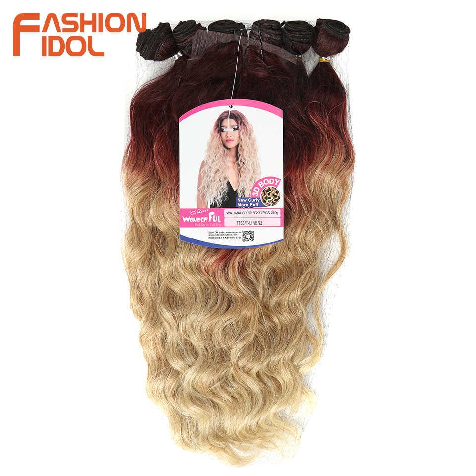 Moda IDOL wiązki falowanych z zamknięciem syntetyczne wiązki włosów 7 sztuk/paczka 16-20 cal Ombre 613 wiązki splot przedłużanie włosów
