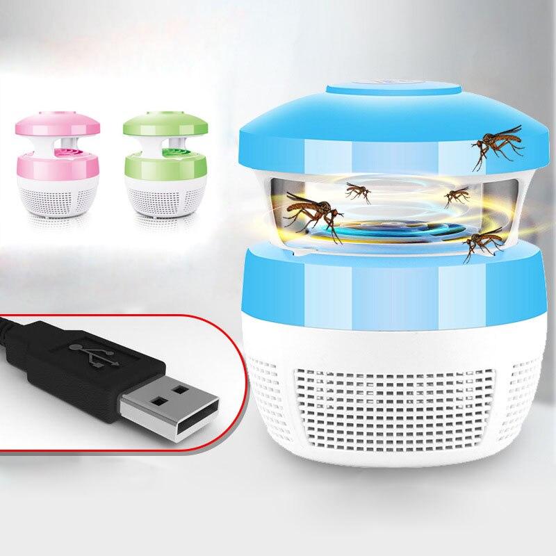 220 V 5 W USB carga luz del asesino del mosquito inteligente controlado ópticamente Seguridad matar insectos lámpara para salón dormitorio cocina