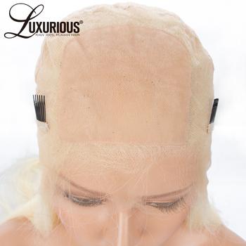4*4 Silk baza pełne peruki typu Lace z ludzkich włosów z przejrzyste koronki wstępnie oskubane prosto chiński Remy ludzki włos Blond włosy #613 kolor tanie i dobre opinie Peruka 1 sztuka tylko Silk Baza Peruki Ręka wiążący Średnia wielkość LUXURIOUS Wszystkie kolory Chiński włosów