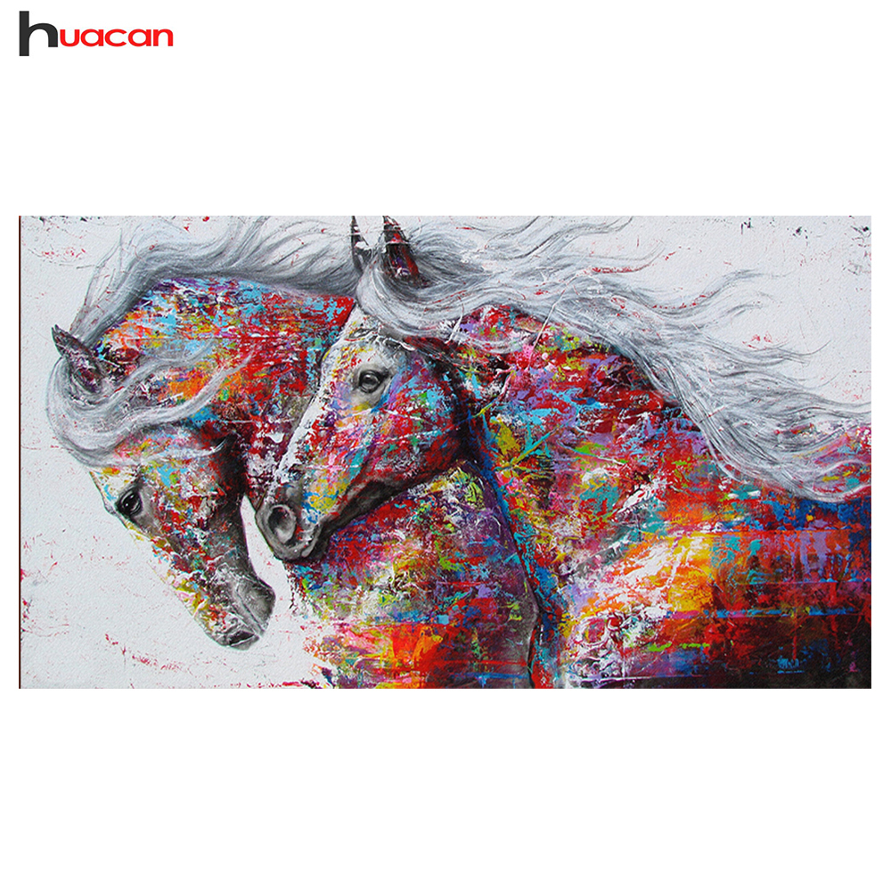HUACAN Diamond Painting Horse Kits Handmade Needlework DIY Diamond Embroidery Animal Mosaic Rhinestone Picture rysunek kolorowy motyle