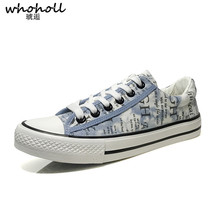 цены WHOHOLL Mens Canvas Shoes Men Flats Breathable Sneakers Fashion Brand Flats Lace-up Mens Casual Vulcanize Shoes Walking Sneakers