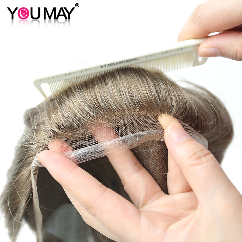 Toupee Men Hair Lace PU Base Color #17 Human Hair Men Toupee Invisible Natural Hairline Bleached Knots Remy Men Wigs You May