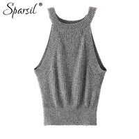 Sparsil Summer Tank Top Sex Sleeveless O Neck Knitted Camis Short Design Women Crop Tops Fitness