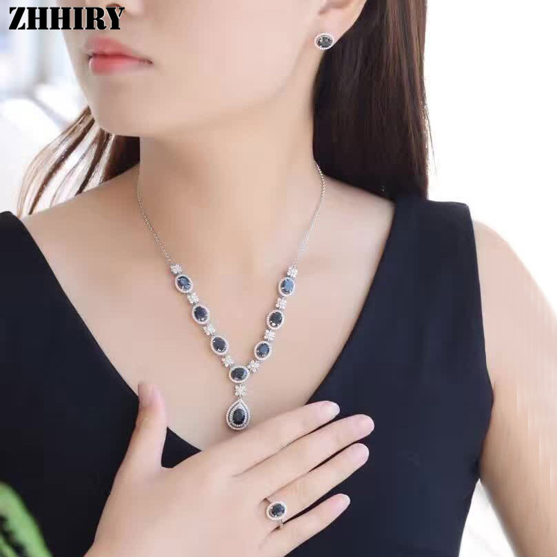 Natural Sapphire Gemstone Jewelry Set Genuine Solid 925 Sterling Silver Women Ring Necklace Earring ZHHIRYNatural Sapphire Gemstone Jewelry Set Genuine Solid 925 Sterling Silver Women Ring Necklace Earring ZHHIRY