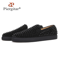 Piergitar 2019 New Cow Suede Sporty style men's casual shoes Handcrafted CL same designs Men spikes sneakers men loafers