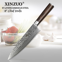 XINZUO 8 Inches Damascus Kitchen Knives Damascus Knife High Quality Japanese Steel Chef Knife Rosewood Handle