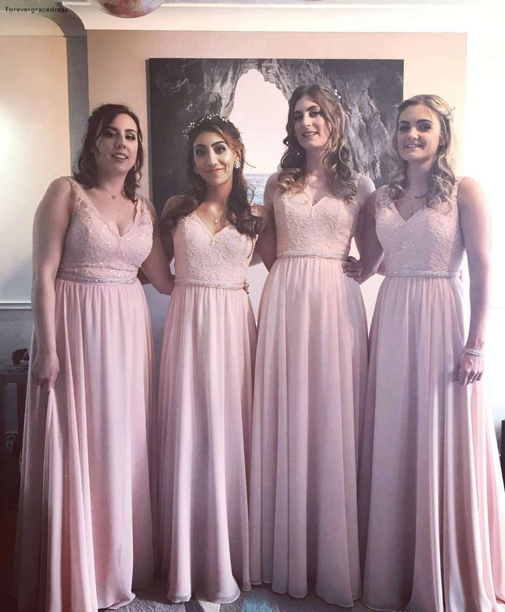 Us 81 6 49 Off Pink Color Bridesmaid Dresses Chiffon Boho Summer Country Garden Wedding Party Guest Maid Of Honor Gowns Plus Size Custom Made In