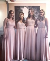 Pink Color Bridesmaid Dresses Chiffon Boho Summer Country Garden Wedding Party Guest Maid of Honor Gowns Plus Size Custom Made