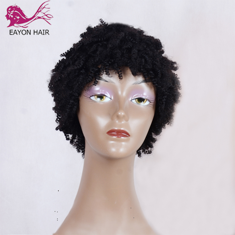 Human-Hair-Wigs Short Wig Kinky-Curly-Machine-Made Brazilian Baby Hair EAYON Afro