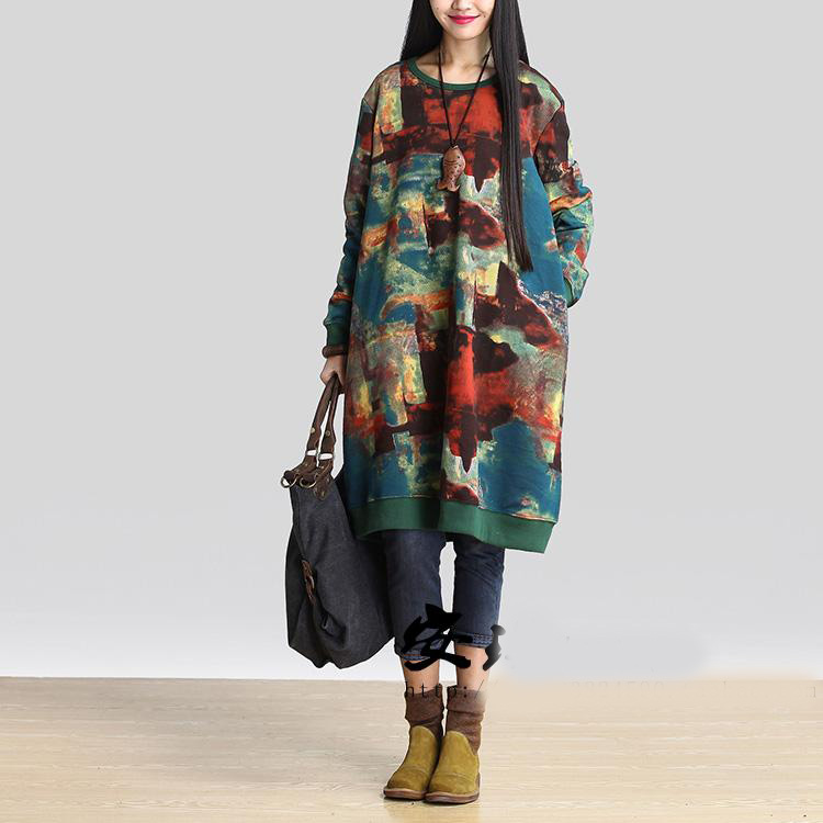 Dames grande taille Graffiti sweat-shirt pull surdimensionné tunique dames col rond à manches longues lâche pull