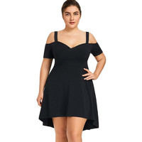 LANGSTAR Cold Shoulder Black Party Dress Plus Size 5XL Sweetheart Neck High Low Dress Short Sleeve