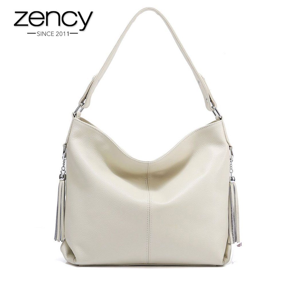Zency New Fashion Soft Real Genuine Leather Tassel Women Handbag Elegant Ladies Hobo Shoulder Bag Messenger