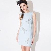 New 2017 Summer Cute Fly Birds Embroidery Mini Dresses Feminine O Neck Sleeveles Back Metal Zipper